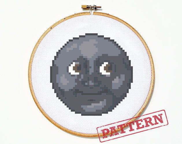 Emoji New Moon With Face Funny Cross Stitch Pattern Etsy In 2020 Cross Stitch Funny Moon Cross Stitch Funny Cross Stitch Patterns