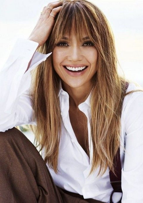 Jennifer Lopez Hairstyles: Vivacious Straight Haircut with Bangs