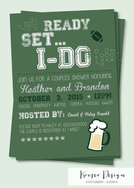 Beer Tailgate Football Bridal and Couples Shower Invitations