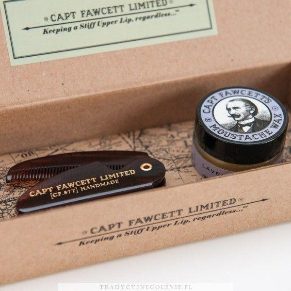 Zestaw składający się z wosku do wąsów Ylang Ylang 15ml oraz kieszonkowego składanego grzebienia do wąsów. Długość grzebienia po rozłożeniu: 117 mm.