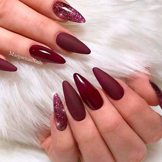 Best Hues For Almond Shaped Nails Naildesignsjournal Com Almond Shape Nails Ombre Nails Glitter Burgundy Nails