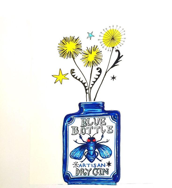 Bluebottle Gin and Dandelions illustration by Lizzie Reakes
