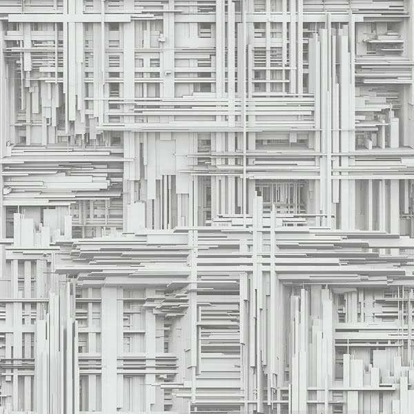 Papel pintado geométrico tablas 3d blanco PDW94209810