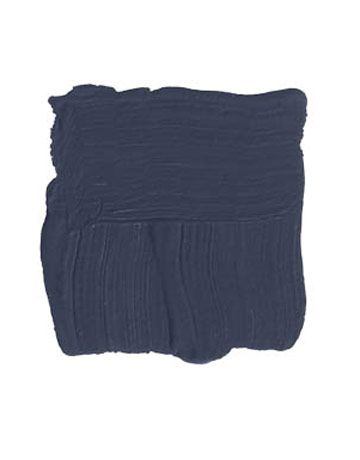 "Benjamin Moore Evening Sky 833  ""This is a deep, dark inky blue that can look almost black in the shade, but it turns into a rich, deep blue in the sun. It would look just as great on a stone house in the mountains as it would on a faded, silvery-shingled Cape Cod at the beach."" -ANDREW FLESHER"