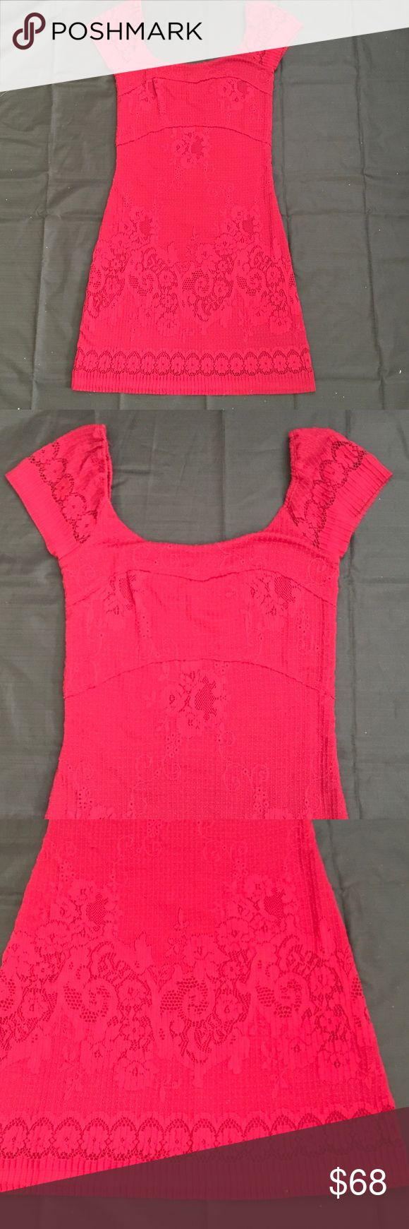 "Free People Red Cap Sleeve Bodycon Lace Dress S Condition: Worn once  🎀Color: Red  🎀Lace detailing  🎀Cap Sleeve  🎀Bust 30""  🎀Waist 28"" 🎀Length 35"" Free People Dresses Mini"