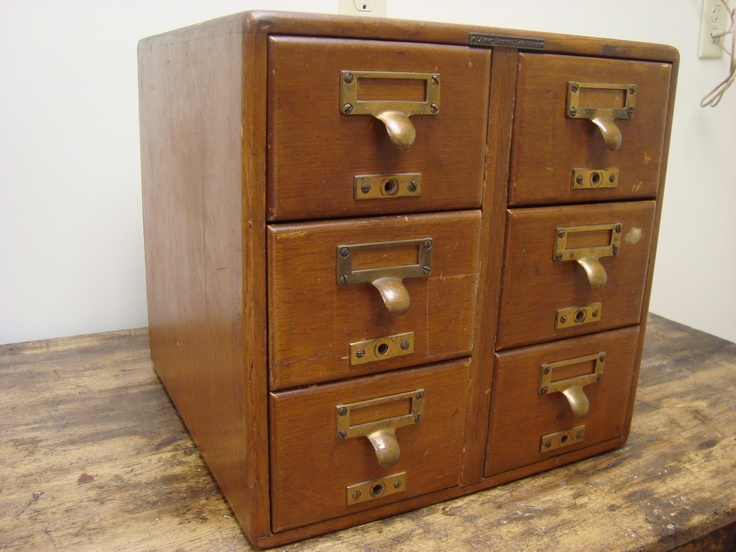 Antique oak 6 drawer library file card catalog library