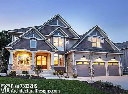 Best Homes Images On Pinterest Dream House Plans Master - Craftsman house plans with 3 car garage