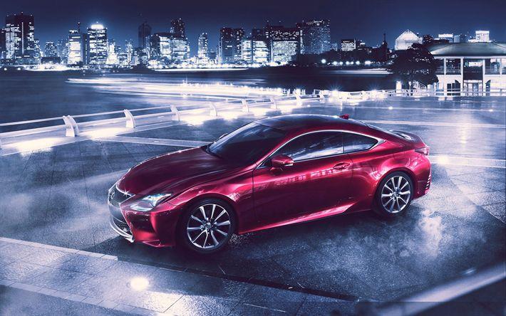 Indir duvar kağıdı Lexus RC, 2017 arabalar, sportcars, gece, Japon arabalar, Lexus