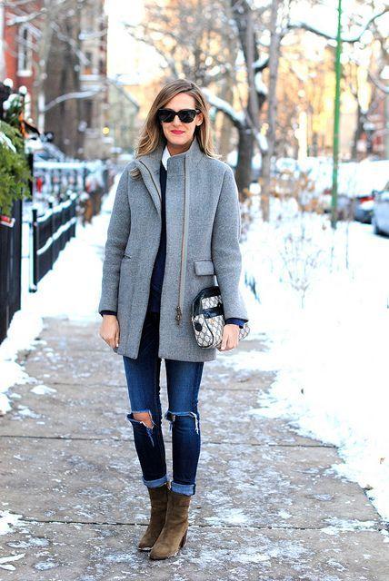 Grey collar coat