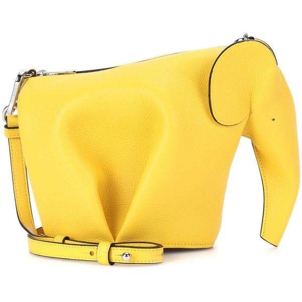 Loewe Elephant Leather Shoulder Bag found on Polyvore featuring bags, handbags, shoulder bags, yellow, elephant shoulder bag, leather purses, yellow leather purse, yellow handbags and shoulder bag purse