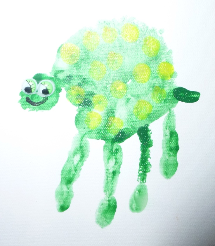 Arts and Crafts Party - Hand Print Animals - Turtle