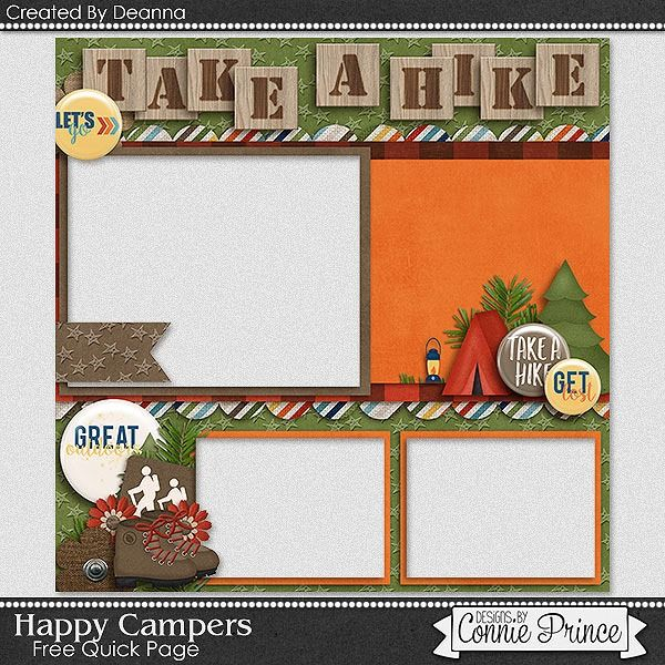 """Today's freebie comes from the talented Deanna using """"Happy Campers.""""  Enjoy your freebie and I'll see you later!"""