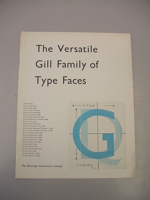 Gill Sans  Great design with mechanical drawing.