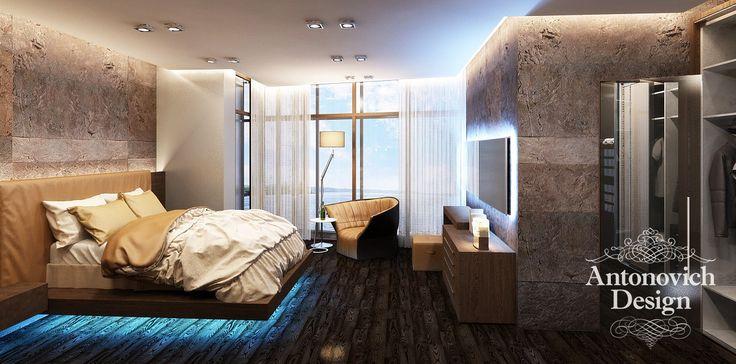 В интерьере спальни главенствуют приглушенные тона.