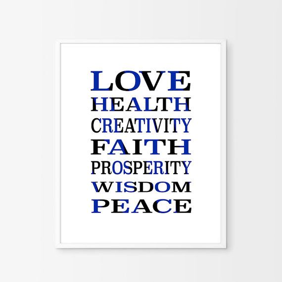 Inspirational Wall Art Navy Typography by BeePrintableQuoteArt