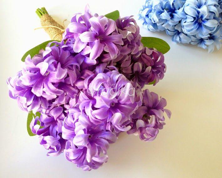 Mor yapay sümbül, gelin buketi / Purple artificial hyacinth, bridal bouquet