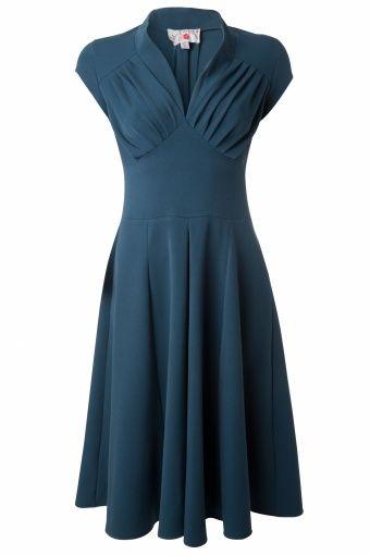 Miss Candyfloss - Odette petrol 50s swing dress