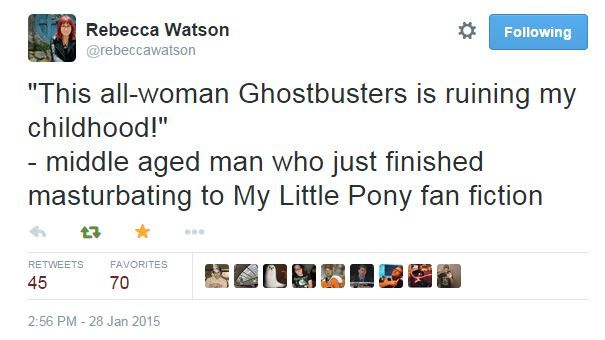 all these sexist dudes on Twitter are up in arms about the all-female Ghostbusters cast announced...Rebecca Watson's response is just too good not to share...