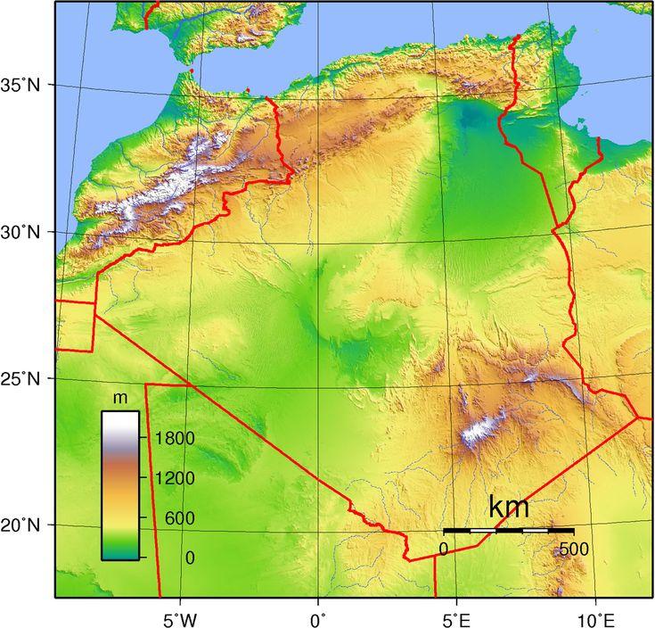 Carte topographique Algérie, la carte topographique d'Algérie.