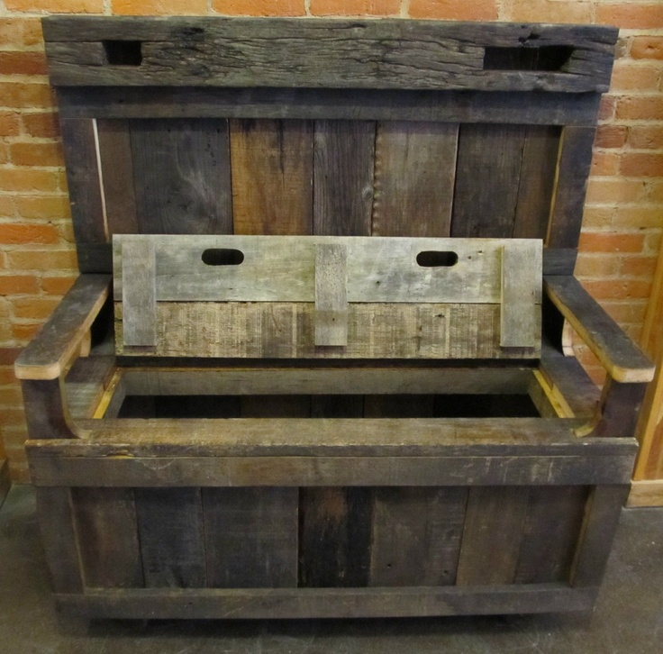 Reclaimed Solid Wood Sideboard Storage Bench: Barn Wood Entry Bench With Storage.