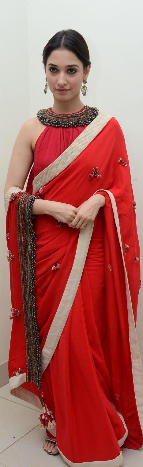 Image credit;http://pluzcinema.com Tamannah bhatia , in a beautiful saree  For more pins---[[Six yard- The Saree ❤•。*゚•★]]