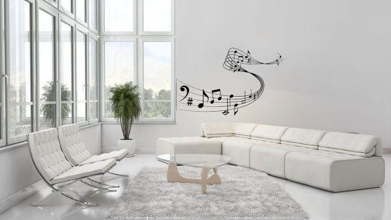 Nota note onde musica musicale Treble Clef Housewares parete vinile Decal Sticker Design Interior Decor Camera da letto SV4087 di musica Studio di registrazione