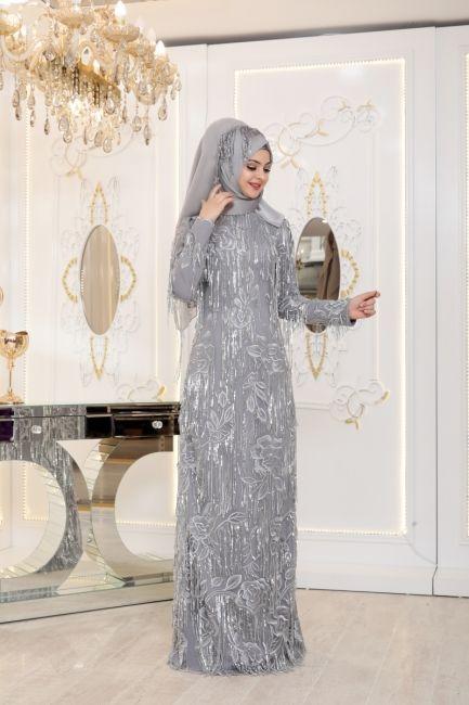 d24f18fbc7dcd Pınar Şems Tesettür Abiye Elbise Ecrin Pudra   Alatesettur.com in ...