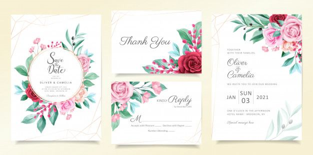 Modern Wedding Invitation Card Template Set With Watercolor