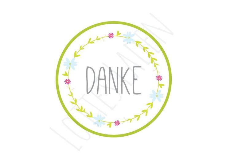 24 Aufkleber ''Danke'' Sticker Etiketten Blumen von Lottes Laden auf DaWanda.com