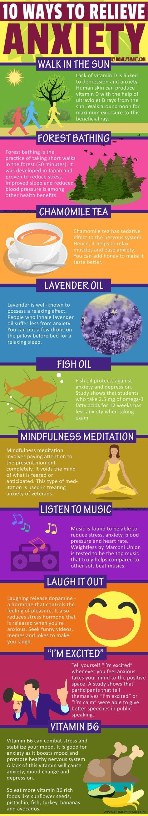 HomelySmart 10 ways to relieve anxiety, walk in the sun, forest bathing, chamomile tea, lavender oil, fish oil, mindfulness meditation, listen to music, laugh it out, i'm excited, vitamin b6