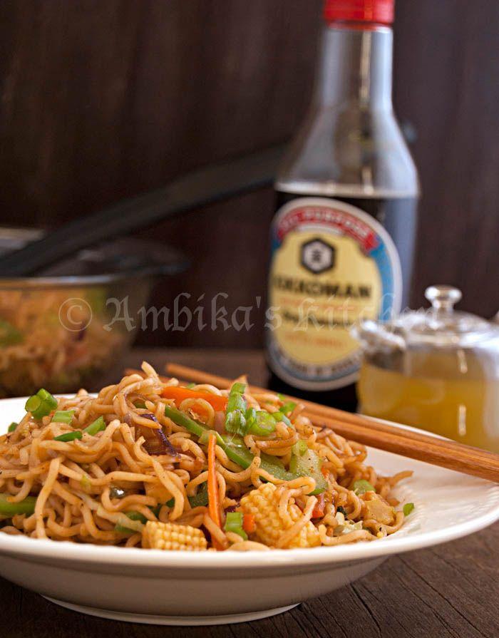Vegetable Chow Mein/Hakka Noodles with Instant Ramen Noodles    http://ambikaskitchen.com/?p=3933