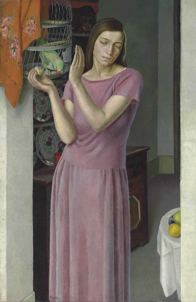 Dod Procter (British, 1890-1972), Girl with a Parrot, 1922. Oil on canvas, 134 x 87 cm.