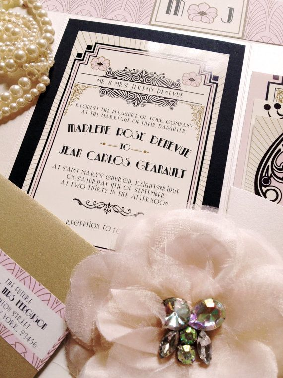 The Great Gatsby Inspired .Art Deco Wedding Invitation and RSVP . Digital or Printed.Nellieandco on Etsy, $45.94