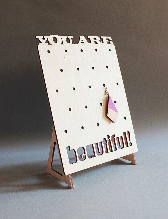 Wooden jewelry organizer, stand, display / You are beautiful / minimalist…