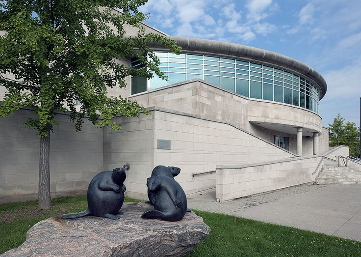 Gallery Exterior. Sculpture by Mary Ann Barkhouse, Grace, bronze, 2007