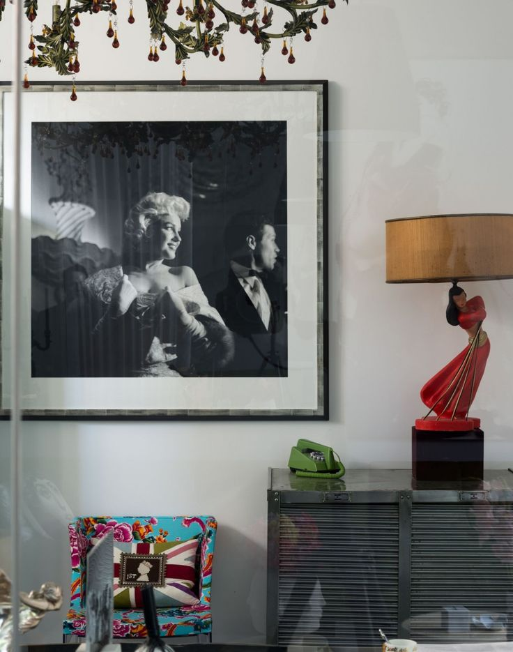 Modern Monochrome Home Office with Marilyn Monroe Print