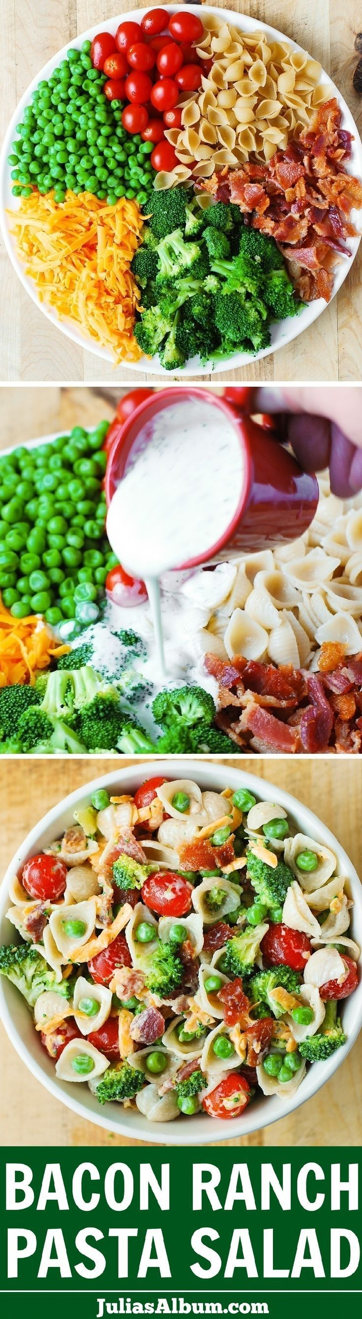 Bacon Ranch Pasta Salad - LOADED with veggies (broccoli, cherry tomatoes, sweet peas), sharp Cheddar cheese, pasta shells, and bacon! Healthy comfort food! #PastaFoodRecipes