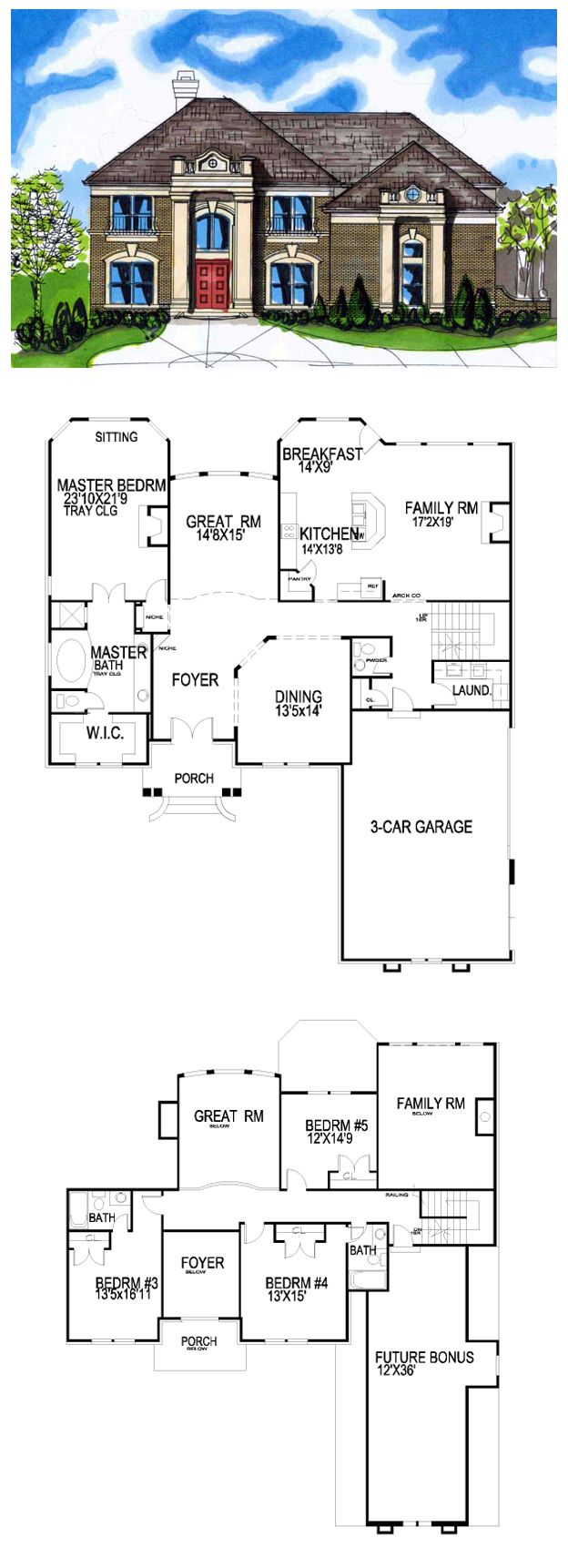 GreekRevival HousePlan 56835 Has 3426 Square Feet 38066m2 Of Living Space 4 Bedrooms And Three Bathrooms Downstairs 3 Car Garage Formal Dining Room
