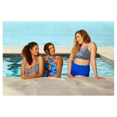 Women's Slimming Control Aztec High Neck Cut-Out Back Bikini Swim Top - Multi Print - S - Beach Betty by Miracle Brands, Multicolored