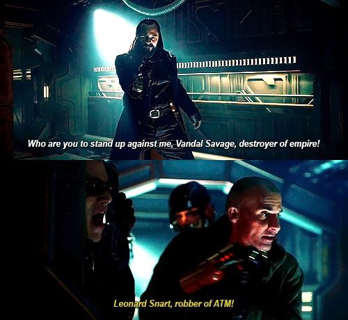 """Leonard Snart, robber of ATM!"" - Leonard, Mick, Ray and Vandal Savage #LegendsOfTomorrow ((Bahahaha!!))"