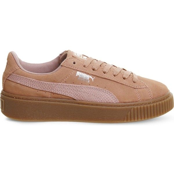 Puma Suede platform trainers ($87) ❤ liked on Polyvore featuring shoes, sneakers, puma footwear, suede trainers, vintage style shoes, puma sneakers and suede shoes