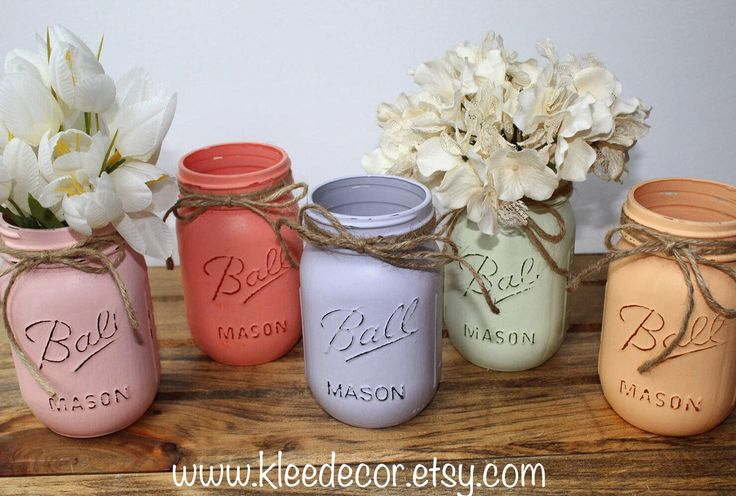 Hand painted distressed Mason jars available at K.Lee Decor on Etsy!