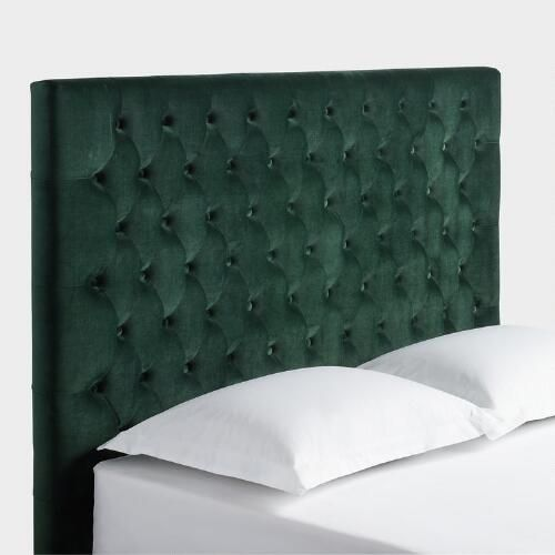 One of my favorite discoveries at WorldMarket.com: Forest Green Jaelyn Tufted Queen Headboard