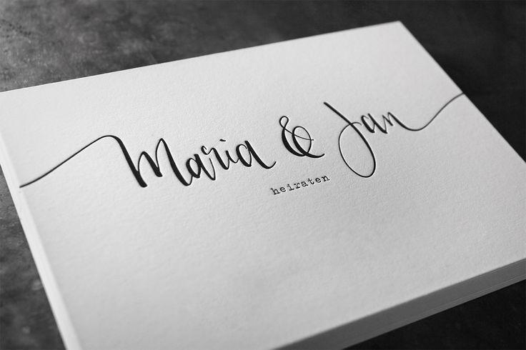 Letterpress – Hochzeitseinladung mit Kalligraphie und Tiefprägung – Sabine Schmitt