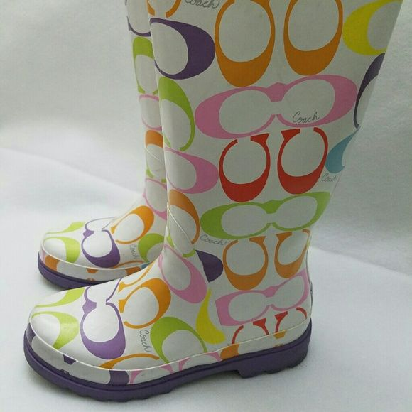 ❤ sale !COACH rain boots!! ❤Beautiful coach rain boots/worn 2-3 times/ excellent condition/ clean inside and out except for areas shown in the pictures.. Coach Shoes Winter & Rain Boots