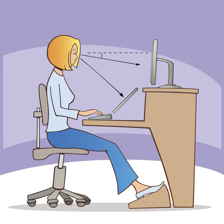 Правила правильной посадки за компьютерным столом.  1. Менять положение спины и ног каждый 15 минут;  2. Разминки для ног, рук и глаз необходимо делать каждые 30 минут;  3. Опираться на спинку стула или кресла, только если устали;  4. Не перекрещивайте ноги и не ставьте одна на другую, так вы затрудняете кровообращение;  5. Не наклоняйте голову вперед и не напрягайте мышцы шеи;  6. Задняя часть бедра располагается на 2/3 сидения и не «впивается» в стул.  #ЦентральнаяАптека