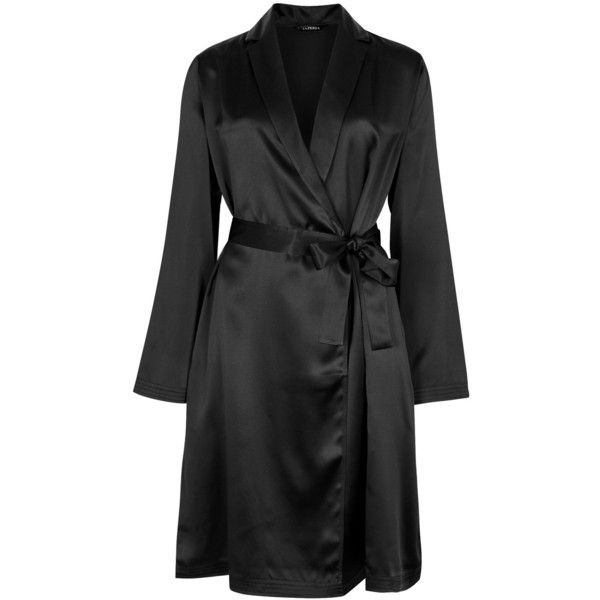 La Perla Black Silk Robe - Size 2 ($295) ❤ liked on Polyvore featuring intimates, robes, la perla robe, dressing gown, silk robe, bath robes and silk dressing gown
