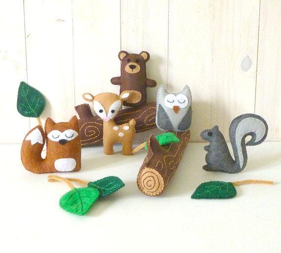 Woodland Mobile Sewing Pattern DIY Woodland by LittleSoftieShoppe
