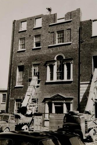 Demolition of 2 and 3 Kildare Place, 1957. Designed by Richard Castle and executed by James Ensor.