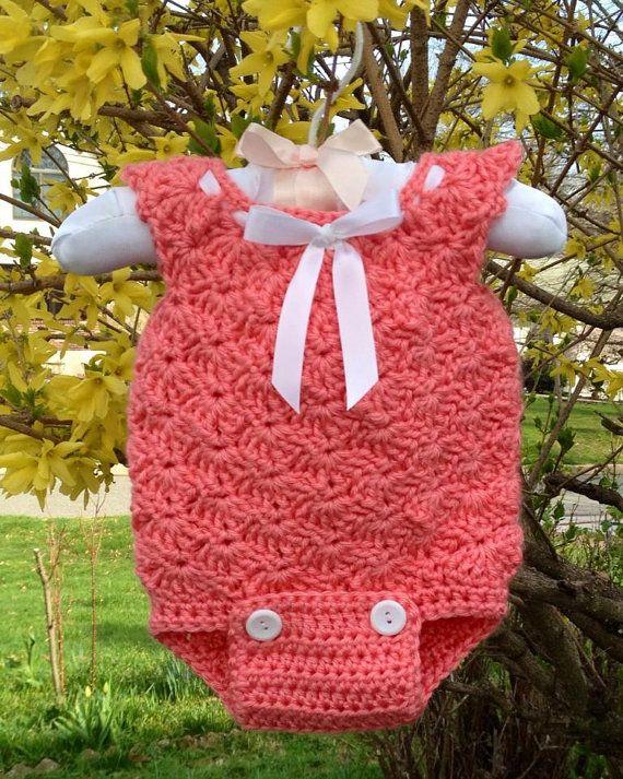 Shell stitch crochet baby romper